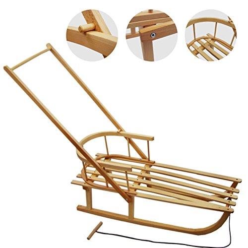 Babys-Dreams BAMBINIWERLT houten slee met rugleuning + trekkoord + lus - kinderslee - slee van hout