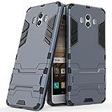 Funda para Huawei Mate 10 (5,9 Pulgadas) 2 en 1 Híbrida Rugged Armor Case Choque Absorción Protección Dual Layer Bumper Carcasa con Pata de Cabra (Azul Negro)