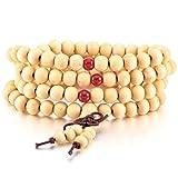MOWOM White Wood Bracelet Link Wrist Necklace Chain Tibetan Buddhist Sandalwood Bead Prayer Buddha Mala Chinese Knot