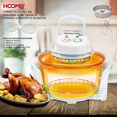 Hoomei HM-5930 Forno alogeno ventilato 18L 12 L 1300 W Friggitrice aria calda Vaporiera