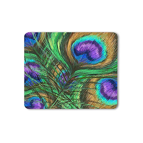 Moslion Peacock Feathers Mouse Pad Animal Beautiful Colorful Digital Paint Shiny Green Purple Gaming Mouse Mat Non-Slip Rubber Base Thick Mousepad for Laptop Computer PC 9.5x7.9 Inch