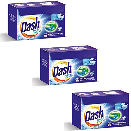 Dash® Alpen Frische 3 in 1 Caps SPARGRÖßE I 36 Waschladungen (3 x 12) I Vollwaschmittel-Caps für weiße Wäsche I 3 in 1 Formel für Frische, Reinheit und Sauberkeit   3 x 318 g