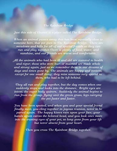 The Rainbow Bridge: Large Lined Journal 8.5 x 11 With Clouds and Rainbow Cover