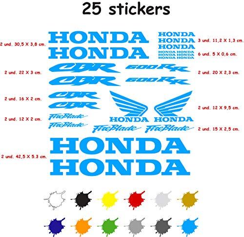 Aufkleber für Motorrad, Vinyl, 7 Jahre, für Honda CBR 600 RR mit 25 Aufklebern hellblau