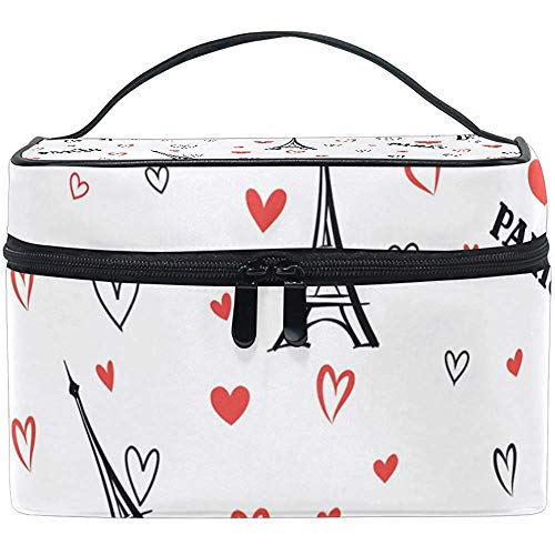 Romantic France Paris Eiffel Tower Love Hearts Print Large Cosmetic Bag Travel Makeup Organizer Case Holder For Women Girls Toiletry Bag,23X17X16Cm
