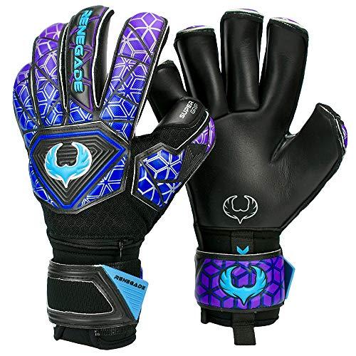 Renegade GK Vortex Strom Goalie Gloves | 3.5+3mm Hyper Grip & 4mm Duratek | Black, Purple, Blue Soccer Goalkeeper Gloves (Size 11, Adult, Roll Cut, Level 3)