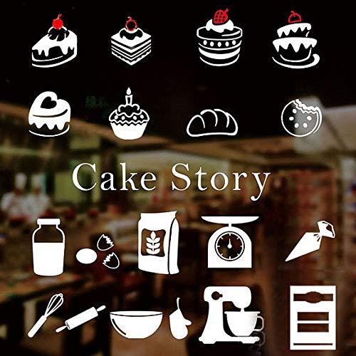 Fantasie Tortenaufkleber, Wandaufkleber, Backen, Bäckerei, Desserts, Restaurant, Weste, Vitrine aus Glas, selbstklebend, 40 cm x 40 cm