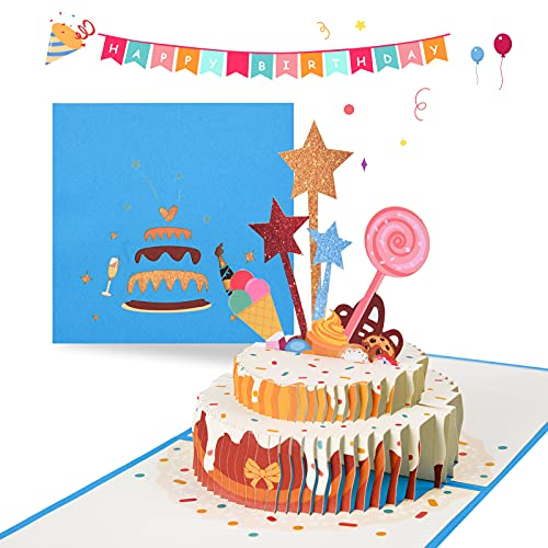 Herefun Tarjeta de Felicitación Cumpleaños 3D, Tarjeta de Cumpleaños Pop Up, Tarjeta Regalo de Personalizada con Sobre, Tarjeta de Cumpleaños Wonderful para Amante, Familias, Amigos y Niños (Estrella)