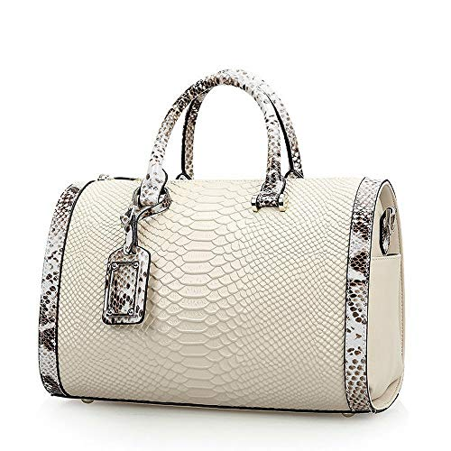 Mn&Sue Trendy Women's Crocodile Cobra Pattern Top Handle Purse Cross Body Boston Doctor Handbag (White)