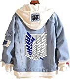 for Mens Womens Boys AOT Attack on Titan Hoodies 2 Jacket Sweatshirts Shirt Cosplay Costume Denim Jeans Zip up Merch Sweater Clothes Keychain Anime Merch Shingeki no Kyojin Cape Cloak S Blue