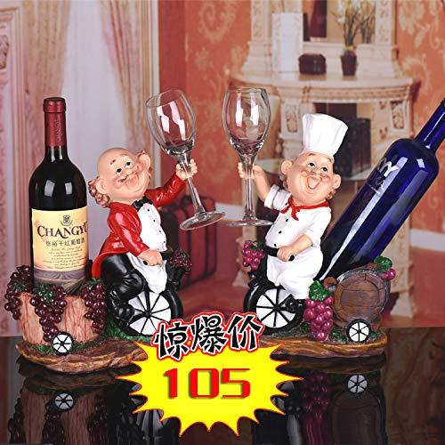ZSWshop Creativo gabinete de vinos, Estante para vinos, Estante Moderno de Resina Europea para Vino Tinto, artesanías de Moda, Estante para Botellas de Vino, Precio Especial [Chef de Caballero Rojo]