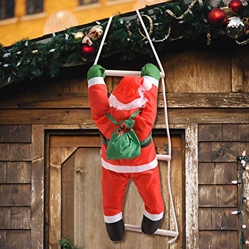 Evoio 34 Inch Climbing Hanging Santa Claus On Rope Ladder Christmas Tree Indoor/Outdoor Hanging Ornament Decoration for Christmas(Santa Size is 20 Inch) (Red4)