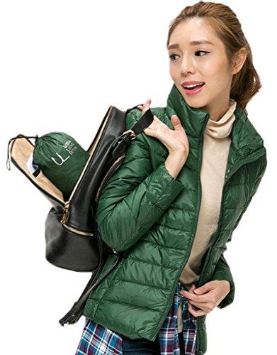 Bigood Femme Manteau Courte Hiver Jacket Doudoune Duvet Blouson Chaud Haute Qualité Parka Rembourré Vert L