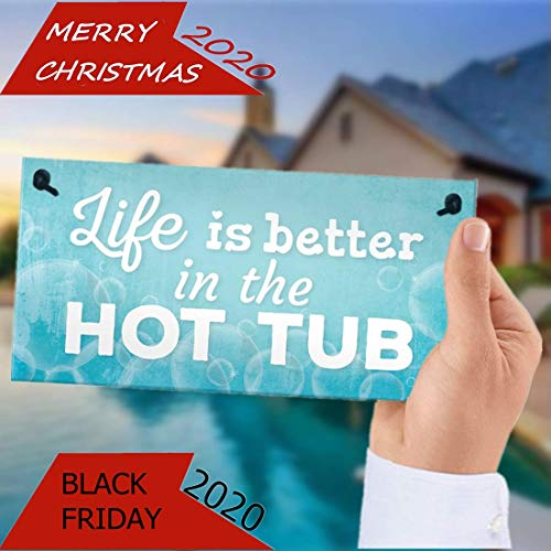 Dadaly Decor Hot Tub Sign Outdoor Pool Decoratin Jacuzzi Pool Shed Plaque 5 x 10 inch