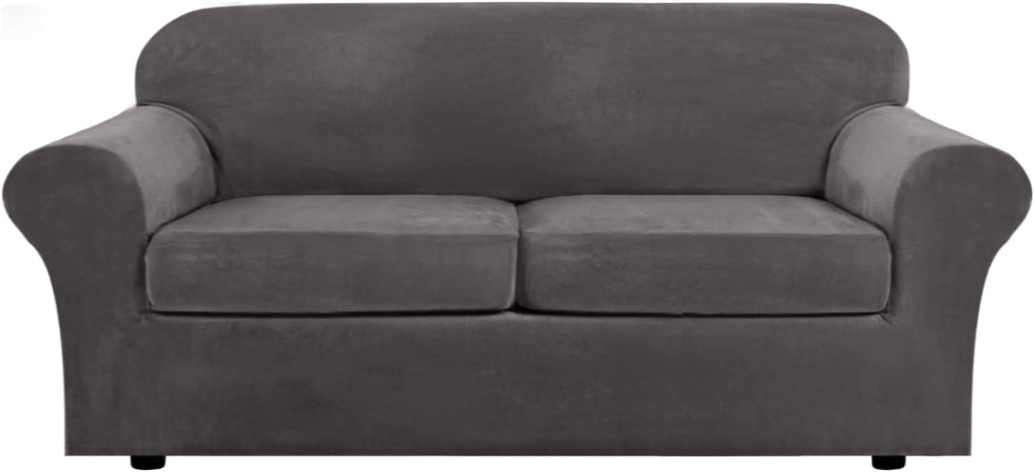 Real Velvet Plush 3 Piece Stretch Sofa Covers Couch Covers for 2 Cushion Couch Sofa Slipcovers (Base Cover Plus 2 Large Cushion Covers) Feature Thick Soft Stay in Place (Large Sofa, Grey): Kitchen & Dining