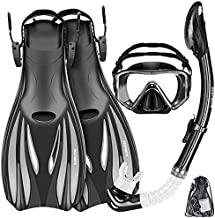 ZEEPORTE Mask Fins Snorkel Set Snorkeling Gear for Adults, Swim Goggles Panoramic View Anti-Fog Anti-Leak, Dry Top Snorkel and Dive Flippers Kit with Gear Bag, Diving Mask Snorkel Gear (Black, M)