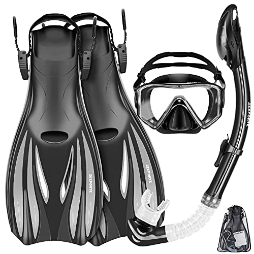 ZEEPORTE Mask Fins Snorkel Set Snorkeling Gear for Adults, Swim Goggles Panoramic View Anti-Fog Anti-Leak, Dry Top Snorkel and Dive Flippers Kit with Gear Bag, Diving Mask Snorkel Gear (Black, S)