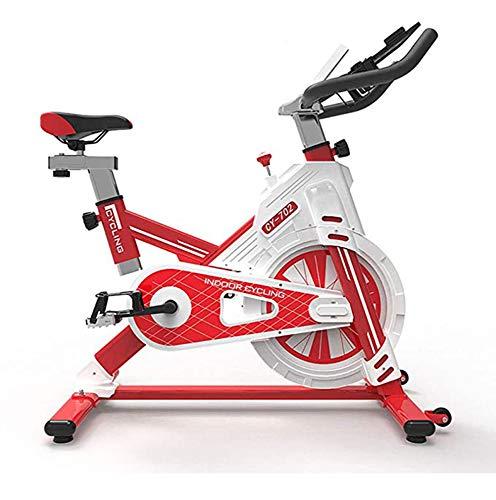 NFJ Esercizio di Bicicletta Magnetica Cyclette Spinning Allenamento Fitness Cardio Spin Bike,Display LCD, Sella Regolabile, Resistenza Regolabile Muto Famiglia,Red