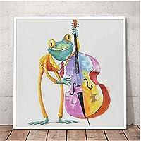 グラスで幸せなカエル壁アートポスターかわいい漫画動物油絵塗装リビングルーム家の装飾ギフト24x24インチ(60x60cm)x1フレーム付き