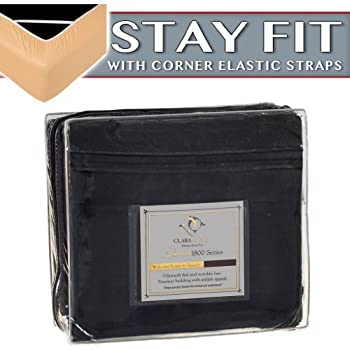 Clara Clark 1800 Series Bed Sheet Sets - Stay fit on Mattress with Elastic Straps at Corners - Queen Black