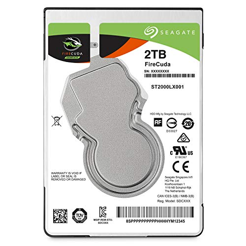 Seagate FireCuda 2TB Solid State Hybrid Drive Performance SSHD – 2.5 Inch SATA 6GB/s Flash Accelerated for Gaming PC Laptop - Frustration Free Packaging (ST2000LX001)