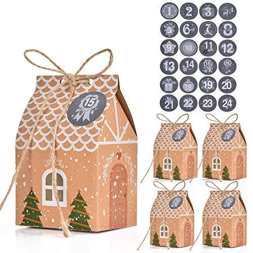 FORMIZON 24 Cajas de Regalo Navidad, Bolsa para Calendario de Adviento, Navidad Bolsas de Regalo con 24 Pegatinas para Navidad, Fiesta, Decoración de Regalos (A)