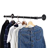 WEBI Clothing Rack Wall Mount,24'' Industrial Pipe Clothes Rack for Hanging Clothes,Heavy Duty Iron Garment Rack Bar,Retail Display Clothes Rod for Closet,Laundry Room,Black