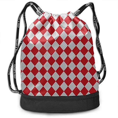 OKIJH Mochila Mochila de ocio Mochila con cordón Mochila multifuncional Bolsa de gimnasio Drawstring Backpack Geometrical Diamond Pattern Gym Drawstring Bags Backpack Sports String Bundle Backpack For