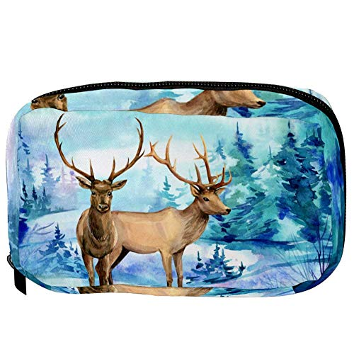 TIZORAX Cosmetic Bags Two Deer In Grove Handy Toiletry Travel Bag Organizer Makeup Pouch for Women Girls