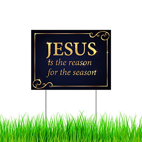 """Jesus is the Reason for the Season Yard Sign with Metal Stakes, Non-Reflective UV Print Corrugated Plastic Sheets, Indoor & Outdoor Holiday Season Garden Lawn Signs (18"""" X 12"""", Single Side Print)"""