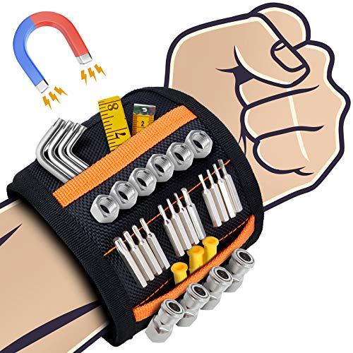 Magnetisches Armband Werkzeug, Sinwind Bestes Männer Geschenke Magnetisches Armband, Magnetarmband Handwerker mit 15 Leistungsstarken Magneten, adventskalender männer 2020, Papa Geschenk (Schwarz)