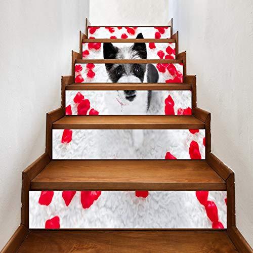 A.Monamour Pegatinas de Escalera Autoadhesivos 3D Caniche Perro Rojo Rosa Pétalos En Tierra Día De San Valentín Vinilo Impermeable Pegatinas de Pared Adhesivos Etiquetas Pegatinas de Baldosas 6 PCs