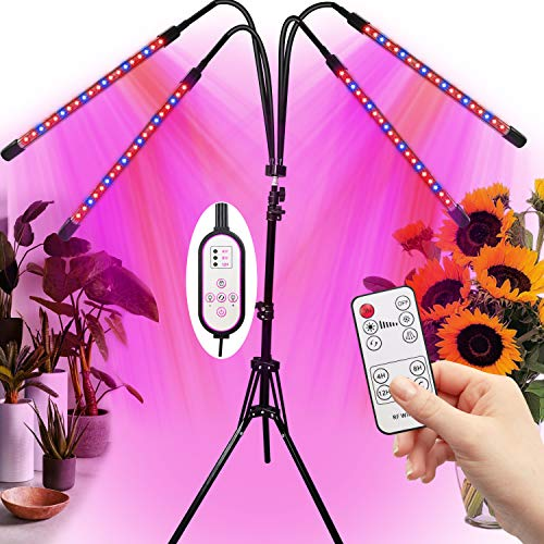 Grow Light for Plant with Stand LED Growing Plant Light for Indoor Plants with 10 Level Brightness Full Spectrum Adjustable 1663quot FourHeads Led Grow Lights On/Off Timing Lamp with Remote Control