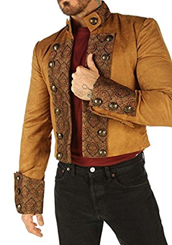 Tan Brown Cotton Gothic Military Men's Jacket Top Steampunk SPSS (Medium)