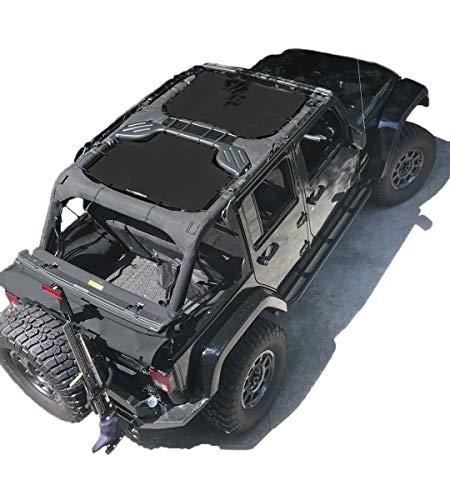 ALIEN SUNSHADE Jeep Wrangler JKU (2007-2018) 2 Piece Front and Rear Sun Shade Mesh Top Cover (Black) – 10 Year Warranty – Blocks UV, Wind, Noise
