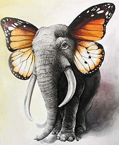 HAON Pintura de Orejas de Mariposa de Elefante por Kits de números Patrón preimpreso DIY Pintura Digital Hecha a Mano para Colorear sobre Lienzo por Usted Mismo 40x50cm sin Marco