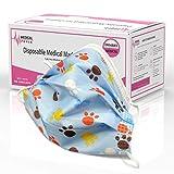 AUPROTEC 10 Stück medizinischer Mundschutz Kinder OP Masken CE zertifiziert EN 14683 Einweg Mund-Nasen-Schutz Gesichtsmasken 3-lagig BFE 95% - Motiv: Pfoten