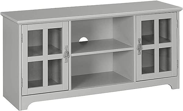 MUSEHOMEINC 夏威夷木制电视架,带玻璃柜和用于客厅的搁板,现代娱乐中心控制台,电视侧面高达 60 英寸灰色饰面