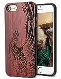 YFWOOD Funda iPhone 7 SE 2020 Funda para iPhone 8 de Madera Artesanal Unica Silicona TPU Híbrido Suave Carcasa para iPhone 7 y iPhone 8 SE 2020