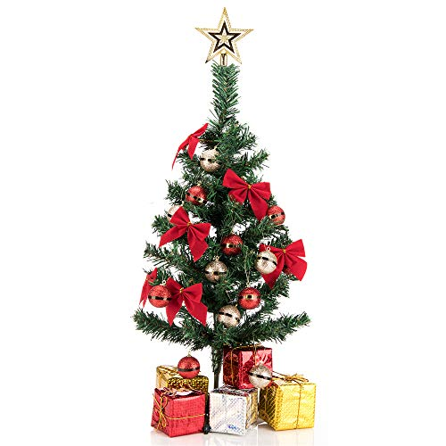 blitzlabs 24'' Christmas Tree Cutting Christmas Artificial Table Tree with Gold Star Treetop,Hanging Ornaments and Decorated Gift Boxes for Home, Kitchen, Dining Table DIY Christmas Decoration