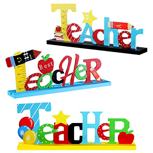 3 Welcome Back to School Table Decoration Wooden Teachers Centerpieces Sign Best Teachers Desk Centerpieces for Teacher Present Graduation Home School Classroom Decor