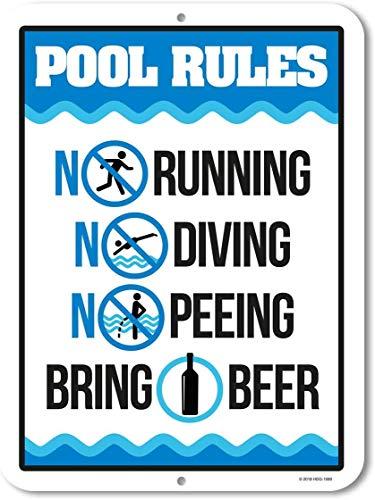 ZMKDLL 30,5 x 20,3 cm lustiges Pool-Blechschild Pool-Regeln, Pool-Schilder, Wanddekoration