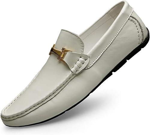 Shuo lan Chaussures de Conduite pour Hommes Mocassins Bateau Penny Loafer Chaussures de Conduite à Bout Rond en Cuir véritable,Chaussures de Cricket (Couleur   Blanc, Taille   38 EU)