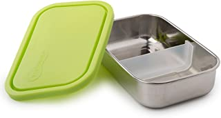 U Konserve - Divided Rectangle, Stainless Steel with Removable Dividers, Multiple Containers in One, Ideal for Lunches, Picnics and Travel, Dishwasher Safe (Lime)