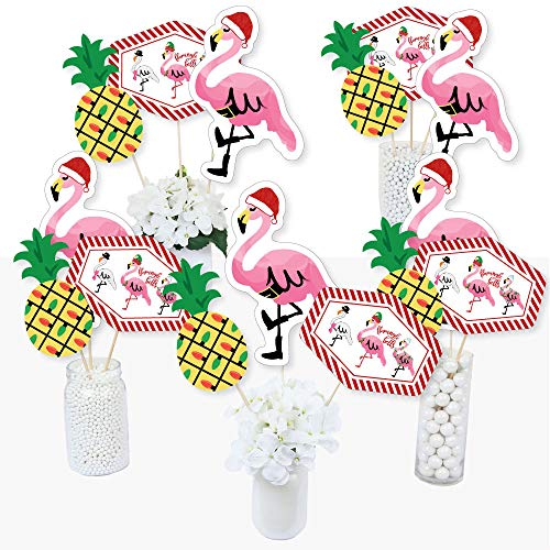 Big Dot of Happiness Flamingle Bells - Tropical Christmas Party Centerpiece Sticks - Table Toppers - Set of 15