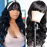 TOOCCI Parrucca nera lunghe con franges parrucca donna capelli veri riccia none lace front wig human hair Brazilian onde capelli umani hair wigs with PU fake scalp body wavy 16 inch