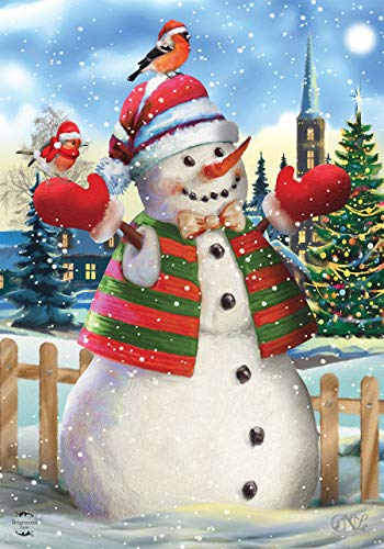 Briarwood Lane It's Snowing Christmas House Flag Snowman Birds 28' x 40'