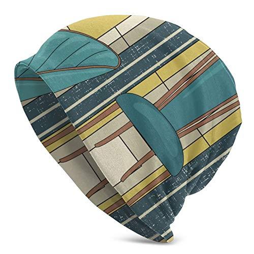 Lilyo-ltd Wintermütze für Erwachsene, aus Mikrofaser, gestrickt, Art-Deco-Panels und Stühle, blaugrün, für Wandern, Radfahren, Walking, für Damen und Herren