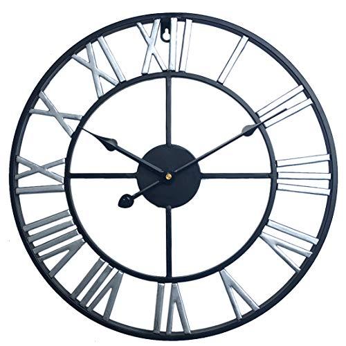 MRKE 40CM 3D Reloj Pared Vintage Grande XXL Silencioso Metal Retro Tridimensional Número Romano Design Reloje de Pared para Cocina/salón/Dormitorio/Baño/Oficina (Plata)
