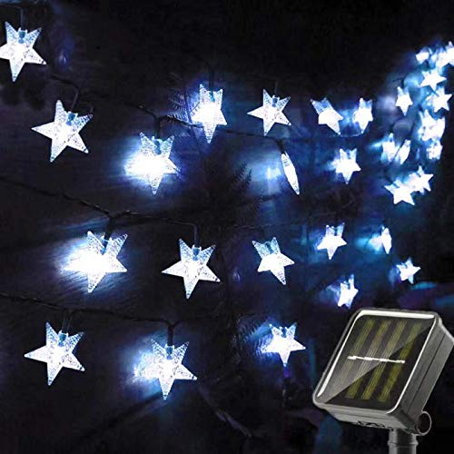 Chipark Solar Star String Lights Garden, 50 LED Star Fairy Lights Outdoor Solar Powered Led Star String Light Waterproof 8 Modes Decorative Light for Garden Patio Yard Wedding Party 23ft(Cool White)